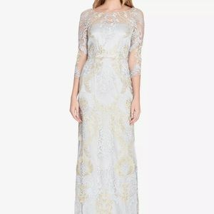 Tahari Embroidered Gown